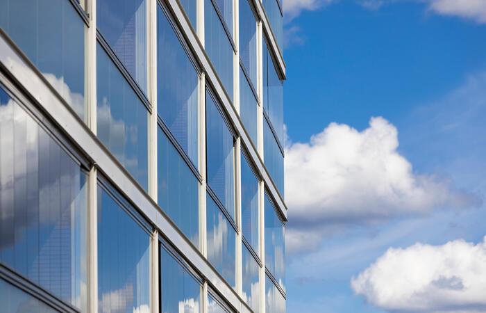 Windows on a city building